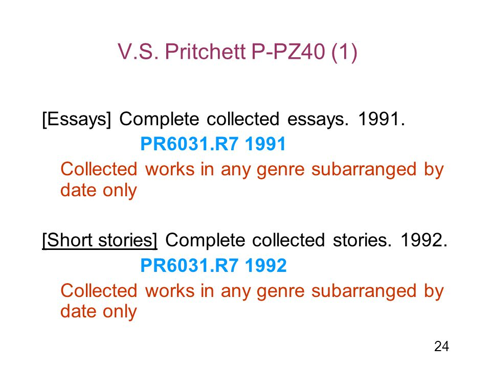 V.S. Pritchett P-PZ40 (1) [Essays] Complete collected essays. 1991.